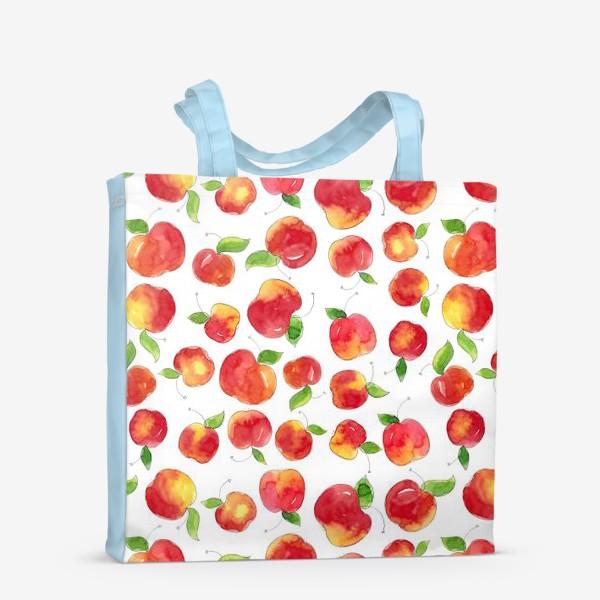 Сумка-шоппер «Паттерн с красными яблоками Apple pattern»