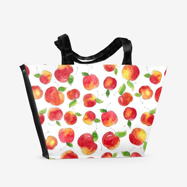 Пляжная сумка «Паттерн с красными яблоками Apple pattern»