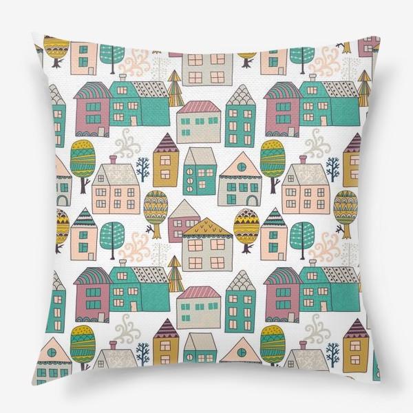 Подушка «Паттерн. Домики разноцветные. Городская тема. »