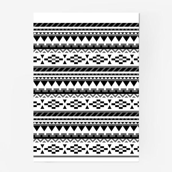 Постер «Черно-белый ацтекский паттерн»