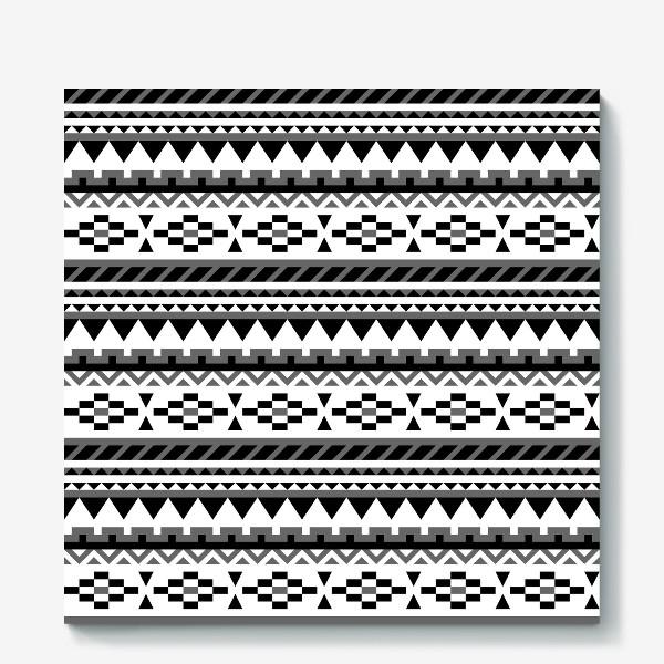 Холст «Черно-белый ацтекский паттерн»