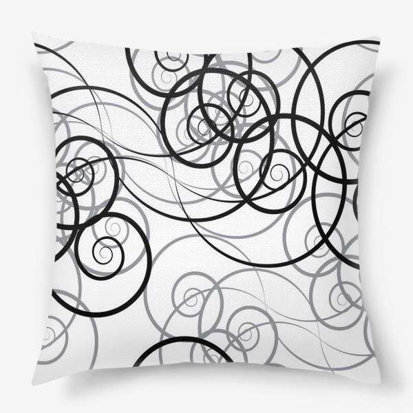 Подушка «Бесшовный черно-белый паттерн с закручивающимся узором. Seamless black and white pattern with a twist pattern»