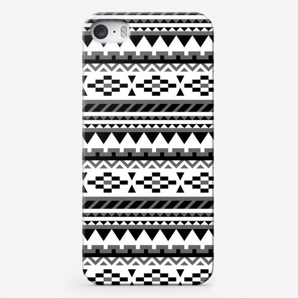 Чехол iPhone «Черно-белый ацтекский паттерн»