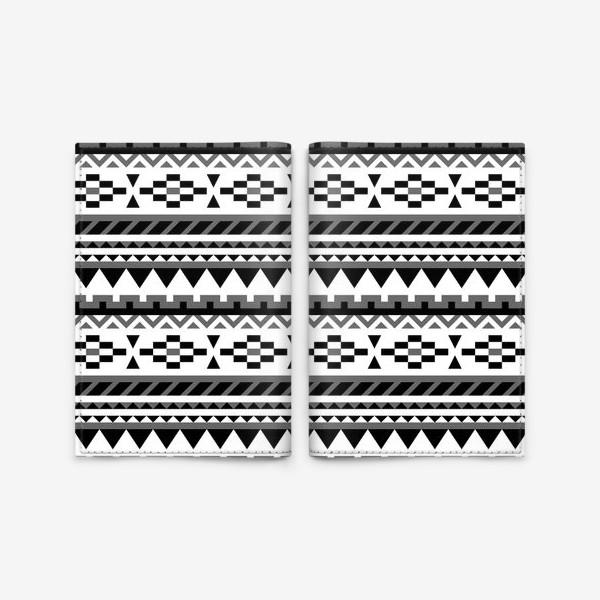 Обложка для паспорта «Черно-белый ацтекский паттерн»