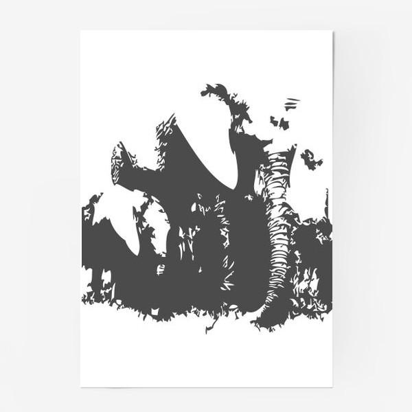Постер «Принт слониха с детенышем»