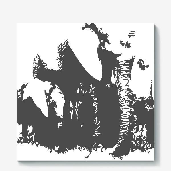Холст «Принт слониха с детенышем»