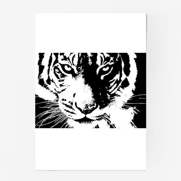 Постер «Принт белый тигр в стиле графика»