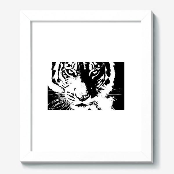 Картина «Принт белый тигр в стиле графика»