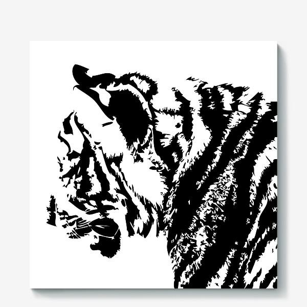 Холст «Принт тигр в стиле графика»