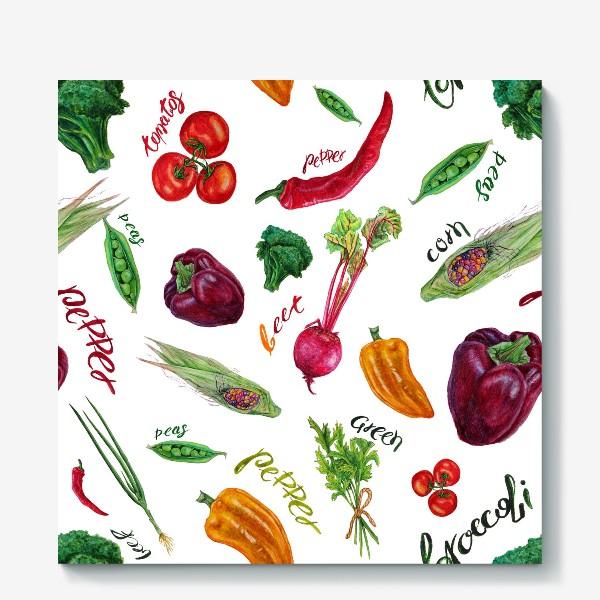 Холст «Акварельные овощи»