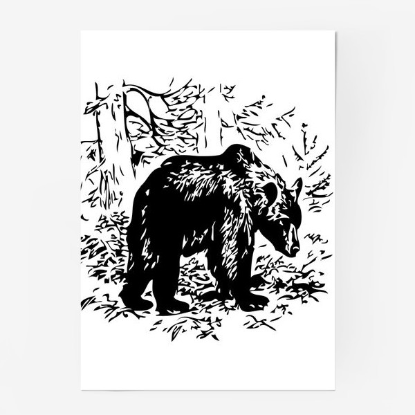 Постер «Принт медведь»