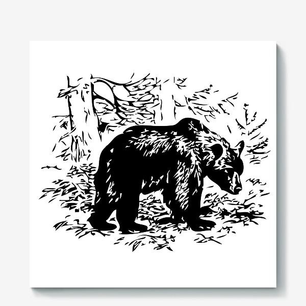 Холст «Принт медведь»