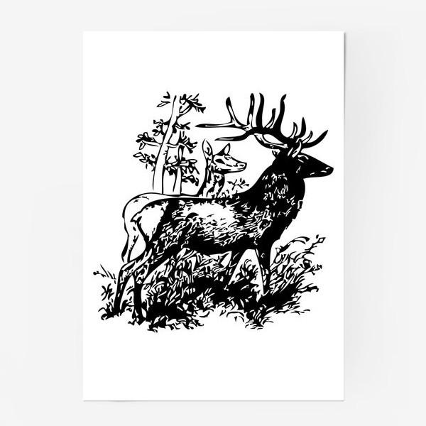 Постер «Паттерн с оленями в лесу»