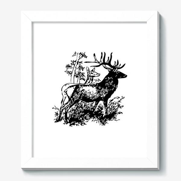 Картина «Паттерн с оленями в лесу»