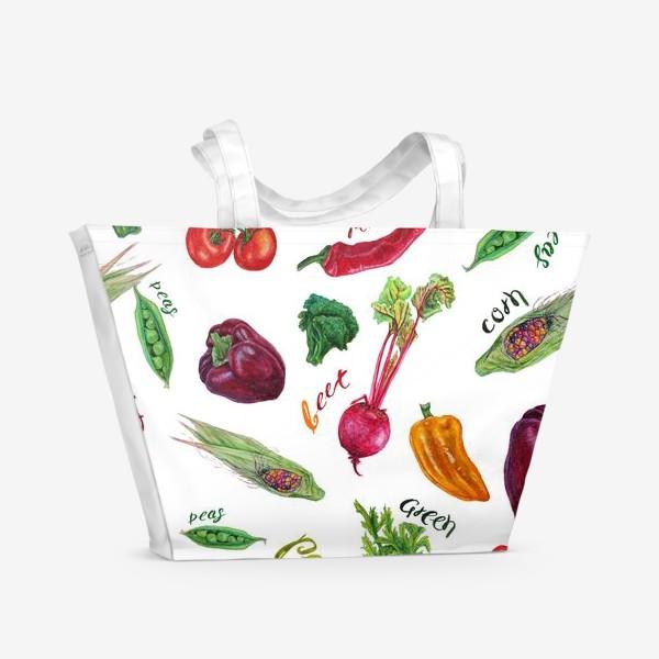 Пляжная сумка «Акварельные овощи»