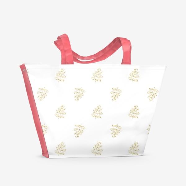 Пляжная сумка «Листья шиповника. Паттерн»