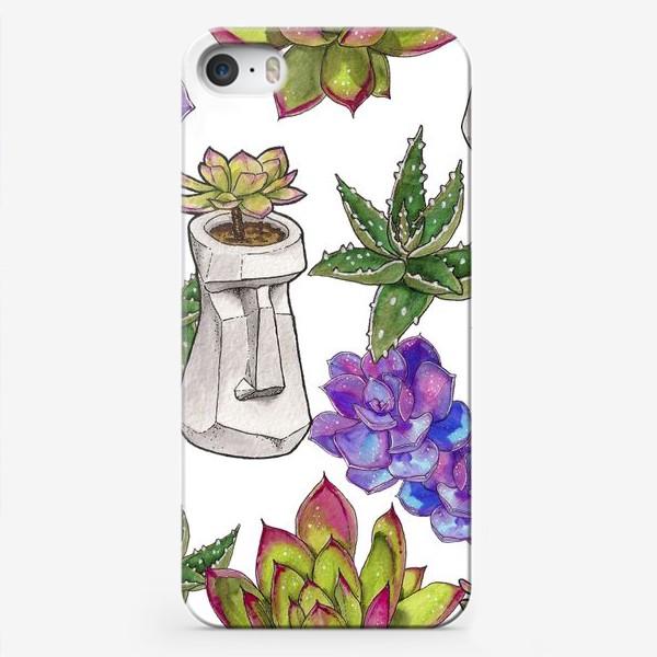 Чехол iPhone «Суккуленты паттерн»
