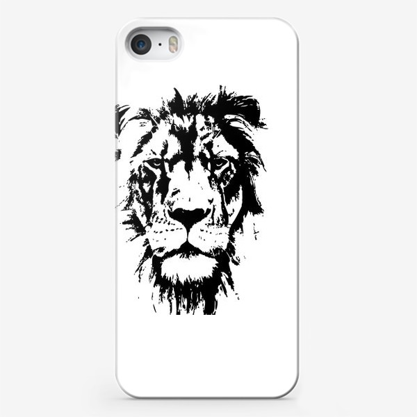 Чехол iPhone «Принт лев в стиле графика»