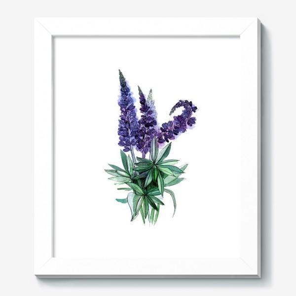 Картина «Люпины, полевые цветы акварелью»