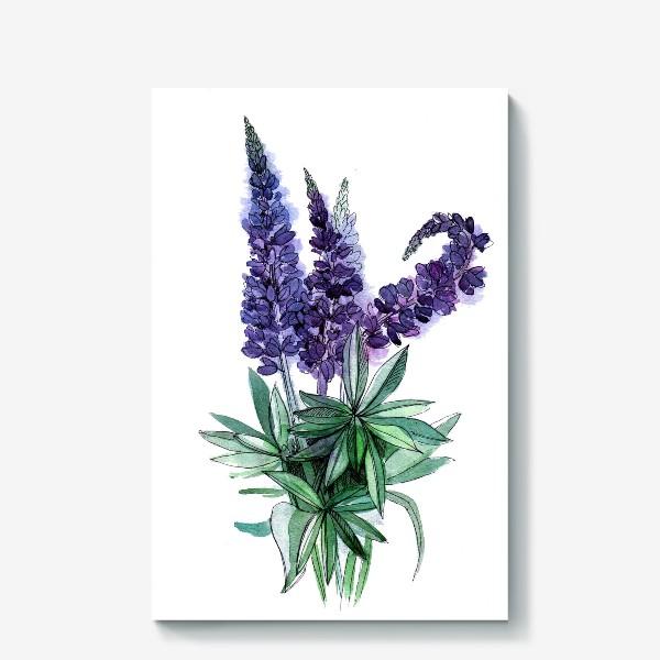 Холст «Люпины, полевые цветы акварелью»