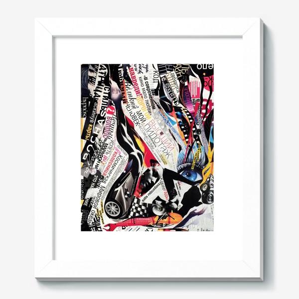 Картина «Коллаж с девушкой, газетные заголовки, вырезки из журналов»