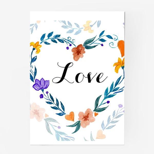 Постер «Рамка в форме сердца из цветов и веток. Любовь.»