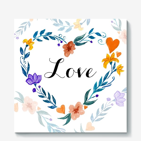 Холст «Рамка в форме сердца из цветов и веток. Любовь.»