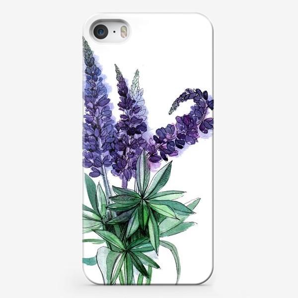 Чехол iPhone «Люпины, полевые цветы акварелью»