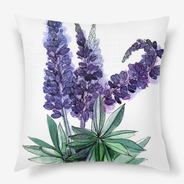 Подушка «Люпины, полевые цветы акварелью»