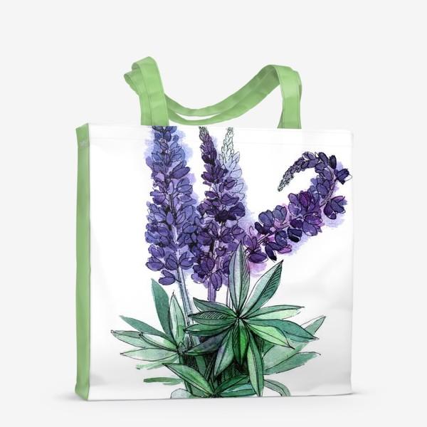 Сумка-шоппер «Люпины, полевые цветы акварелью»