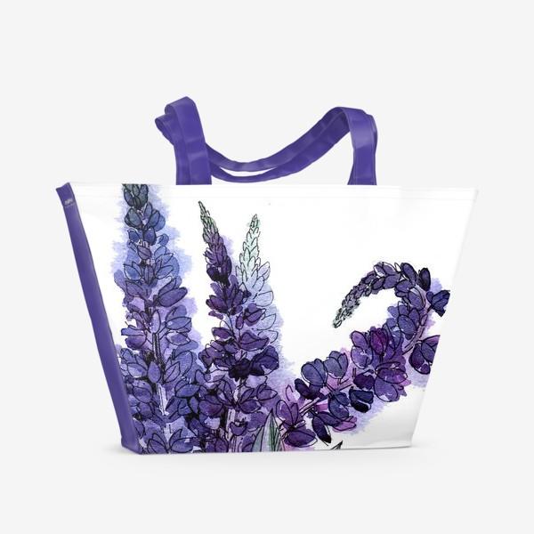 Пляжная сумка «Люпины, полевые цветы акварелью»