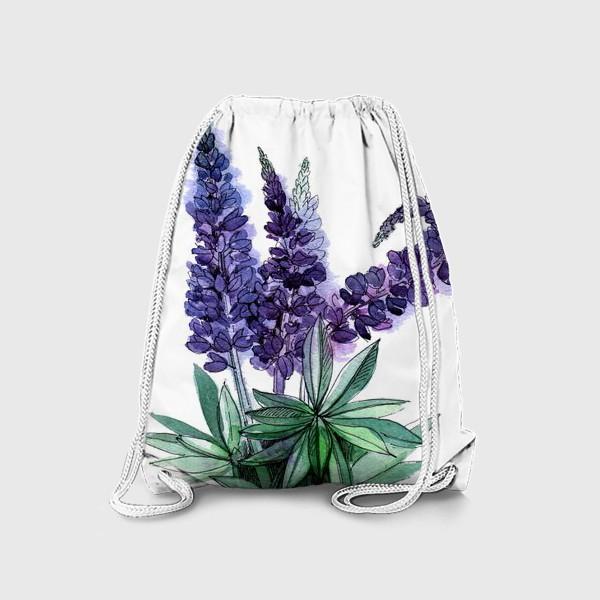 Рюкзак «Люпины, полевые цветы акварелью»