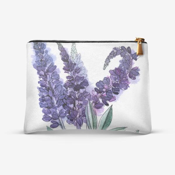 Косметичка «Люпины, полевые цветы акварелью»