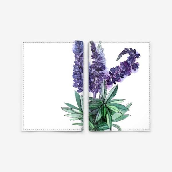 Обложка для паспорта «Люпины, полевые цветы акварелью»