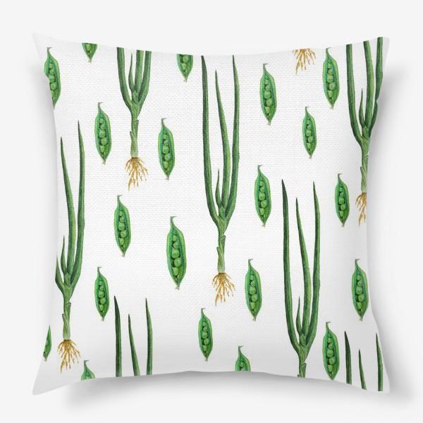 Подушка «Акварельные зеленые овощи»