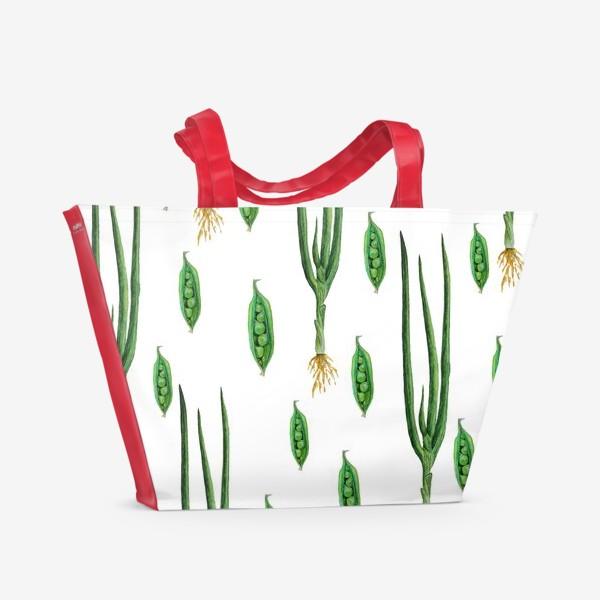 Пляжная сумка «Акварельные зеленые овощи»