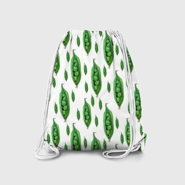 Рюкзак «Зеленый горошек в стручках, акварельные овощи»