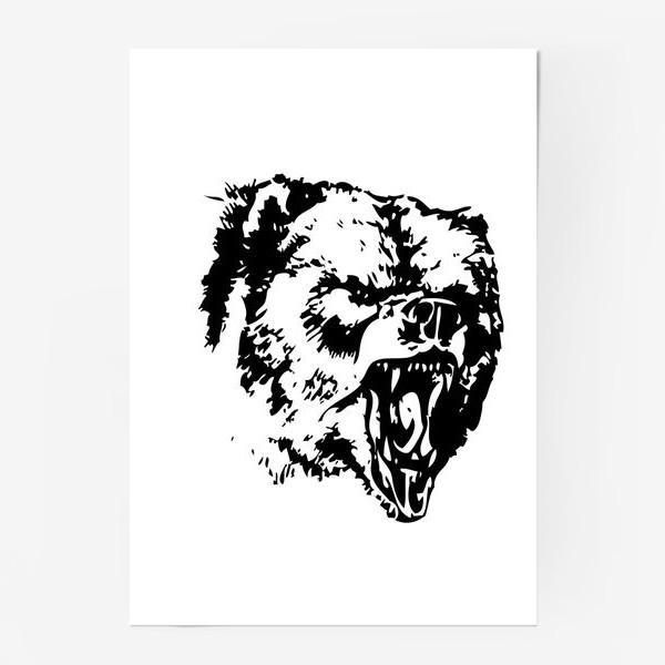 Постер «Принт медведь в ярости»