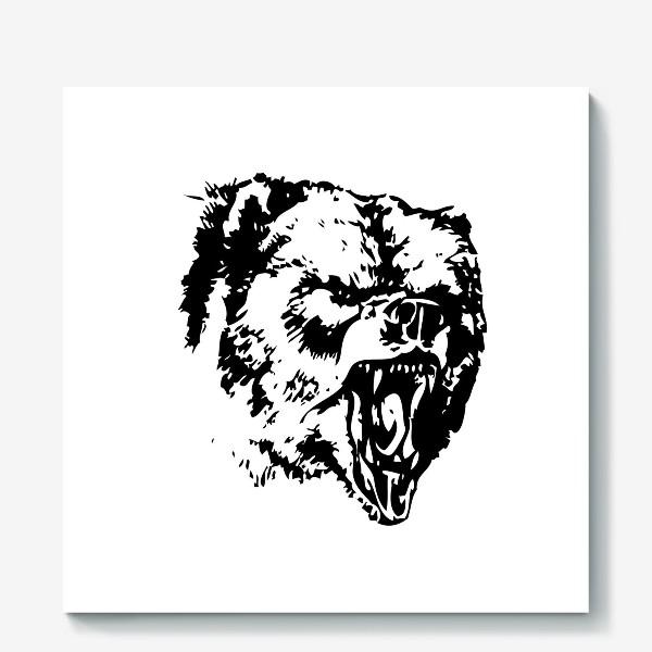 Холст «Принт медведь в ярости»
