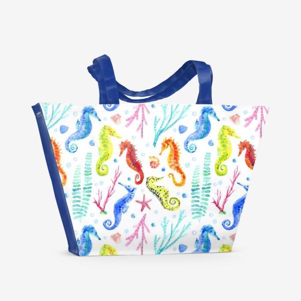 Пляжная сумка «Морские коньки.Акварельный паттерн»