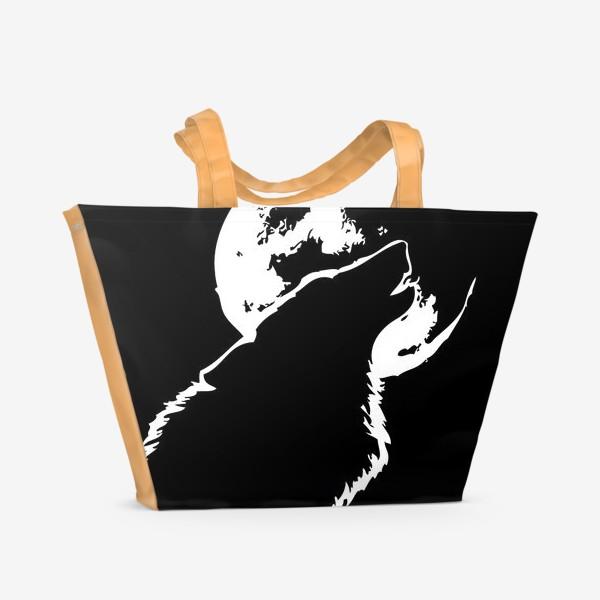 Пляжная сумка «Волк воет на луну»