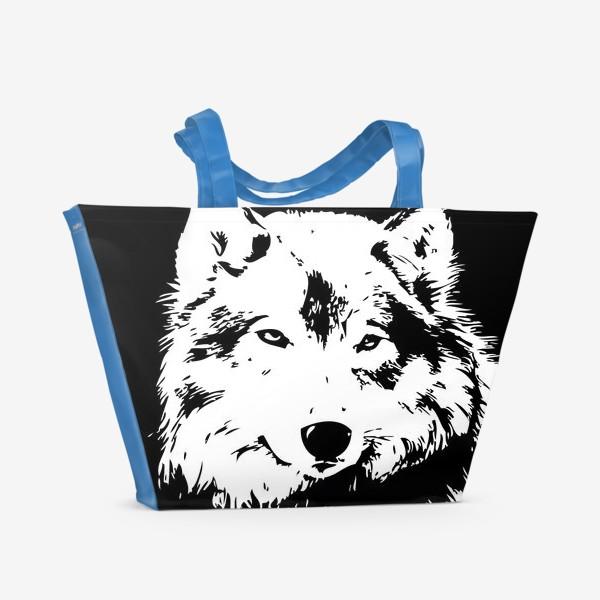 Пляжная сумка «Принт волк»
