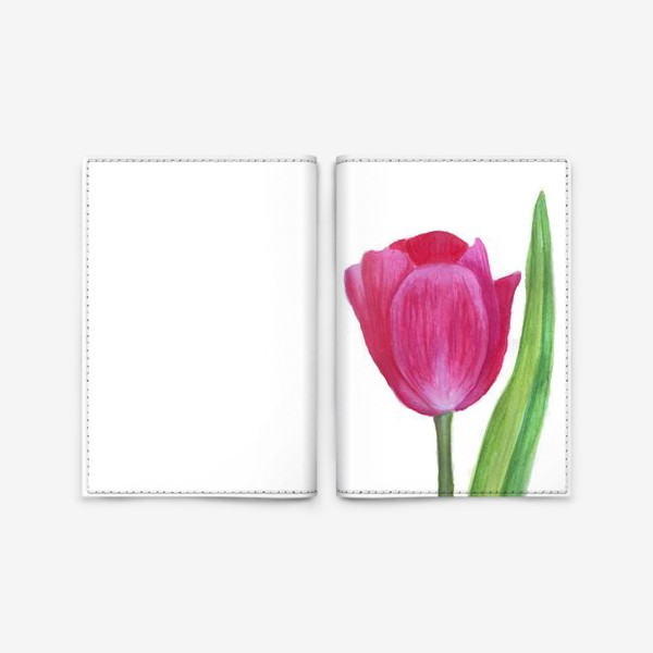 Обложка для паспорта «розовый тюльпан»