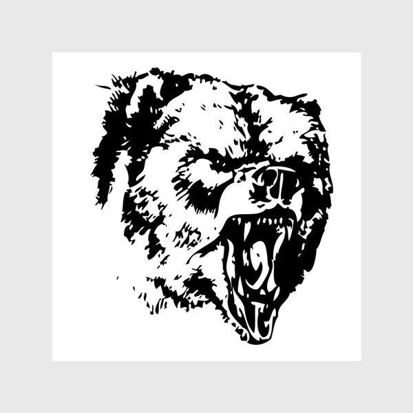 Шторы «Принт медведь в ярости»