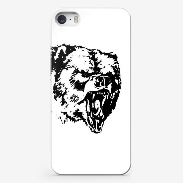 Чехол iPhone «Принт медведь в ярости»