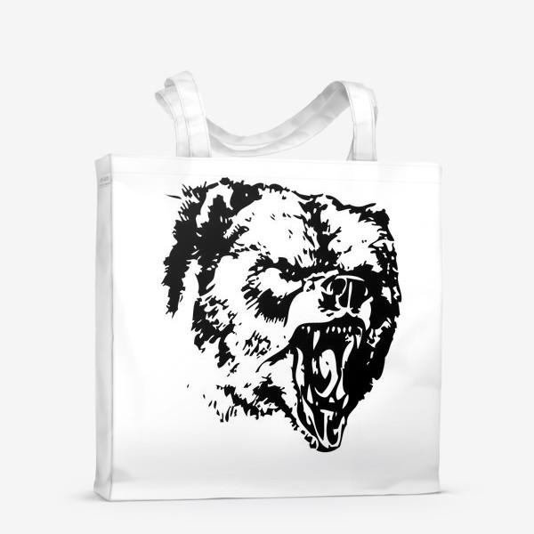 Сумка-шоппер «Принт медведь в ярости»