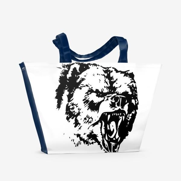 Пляжная сумка «Принт медведь в ярости»