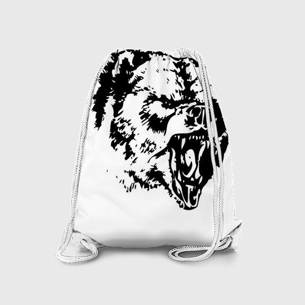 Рюкзак «Принт медведь в ярости»