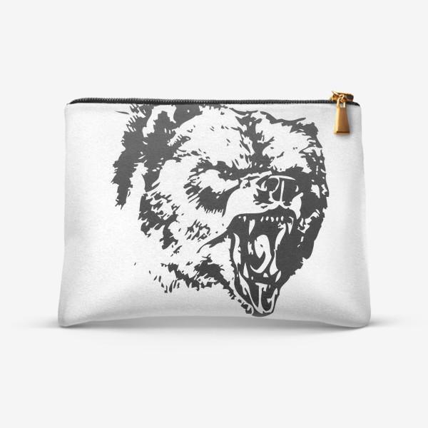 Косметичка «Принт медведь в ярости»