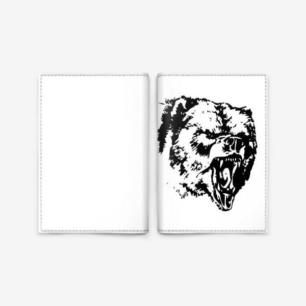 Обложка для паспорта «Принт медведь в ярости»